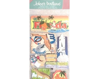 Jolee's Boutique Jolees FLORIDA 2 stickers tampa Orlando Key West Tallahassee Miami Jacksonville self adhesive embellishments SPJT189 cc65