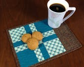 Quilted Mug Rug, Teal and Brown Snack Mat, Mini Placemat, Luncheon Mat, Handmade Beverage Mat, Mini Quilt, Quilted Mugrug, Mothers Day Gift