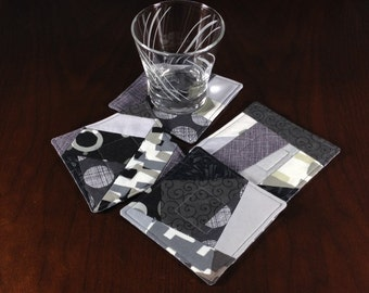Crazy Quilt Coasters, Set of 4 Beverage Coasters, Gray Modern Coasters, Wine Glass Coaster Set, Four Fabric Coasters, Grey Handmade Mug Rugs