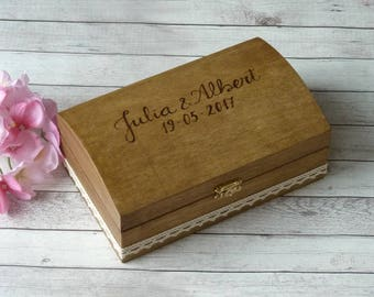 Wedding Ring Box Rustic Wedding Ring Bearer Personalized Ring Holder Ring Bearer Wooden Ring Box Shabby chic Wedding Decoration Ring Pillow