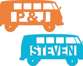 Personalised Name Confetti - Iconic Camper  Van with Name - 50 pieces - 39 colours - Custom made with name of your choice