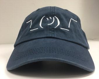 Shrug Emoji Dad Hat - Navy Blue Adjustable Dad Style Hat