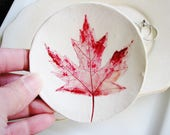 Leaf Ring Dish, Clay Ring Holder, Red Ring Dish, Catchall Dish, Jewelry Holder