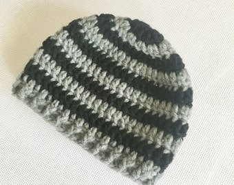 RTS 0 to 3 Months Baby Striped Beanie Hat - Grey, Black
