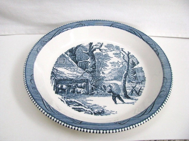 Vintage Blue 10 Quot Ceramic Pie Plate Currier And Ives Royal
