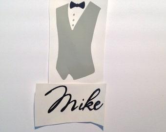 DIY Vest and Name Vinyl Decals Make Your Own Wedding Tumblers Beer Glasses Mason Jars