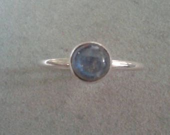 Modern Minimalist Sterling Silver Labradorite Stackable Ring #R128SSL
