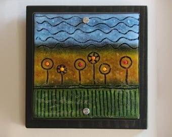 Flower Garden - Fused Glass Wall Art
