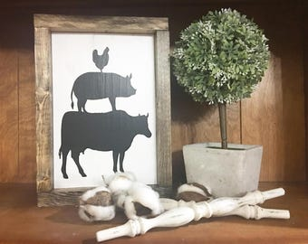 Cow Pig Chicken Sign / Farmhouse / Farm  / Rustic / Framed sign