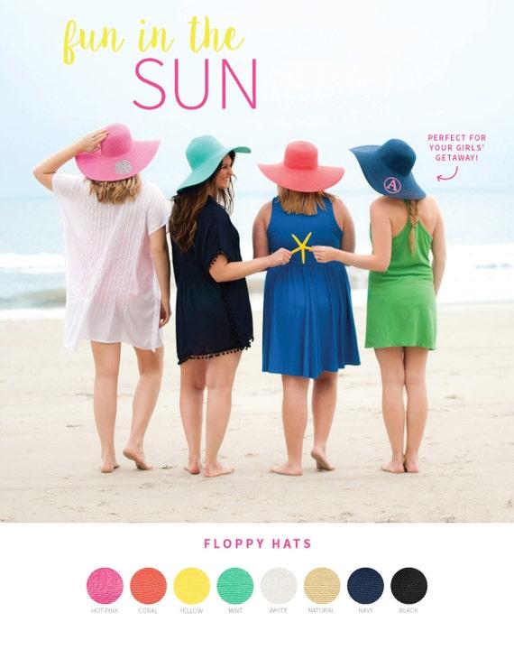 Monogram Floppy Hats Multiple Colors Available Monogram hat Sun hat derby hat beach hat monogram hat monogram gift womens hat