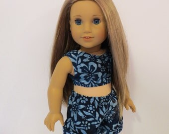 "18"" Doll Clothes - Cropped Top and Cuffed Shorts and Headband - Made to fit AG and similar 18 inch dolls"