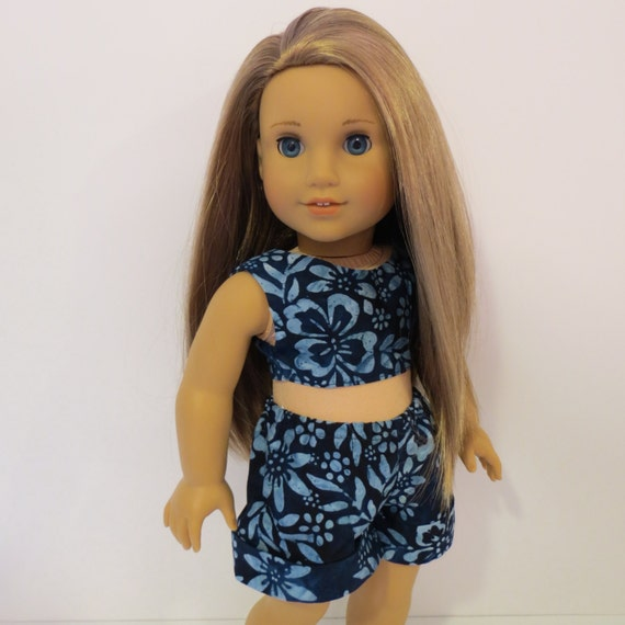 """18"""" Doll Clothes - Cropped Top and Cuffed Shorts and Headband - Made to fit AG and similar 18 inch dolls"""