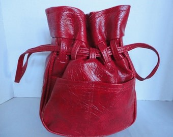 Vintage Red Drawstring Purse