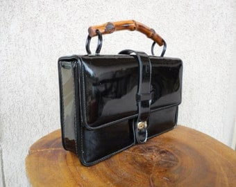 Black Patent Leather Purse With Bamboo Handle
