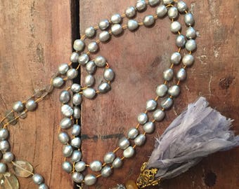 "24""  long gray pearls, citrine, vintage glass gold silk thread necklce mala style"