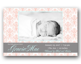 Damask Birth Announcement -  Custom Baby Girl Photo Announcement - Printable - Pink