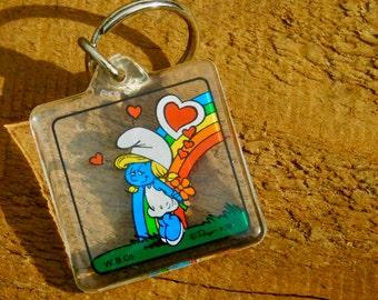 Vintage 80s Smurfs Smurfette Unused Keychain