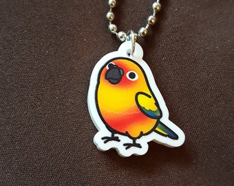 "Chubby Sun Conure 1"" Pendant and Stainless Steel Ball Chain Necklace"