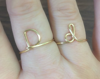 Initial ring, letter D ring, personalized wire initial ring, wire ring, initial d ring, adjustable ring, wire letters, letter ring, D