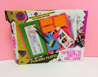 New Kids On The Block, Fashion Plates, Vintage NKOTB, 1990s New Kids, NKOTB Collectible Merch, Pop Music, 1980s 1990s Boy Band, Drawing Set