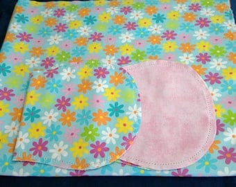 Rainbow Flowers with Pink Backing Hemstitched Baby Blanket and Burps ready for you to crochet by Lindas Hemstitching