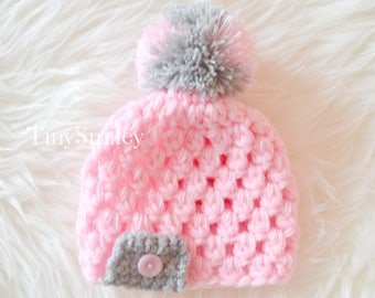 Pink Pompom Baby Hat, Pompom Baby Hats, Pink Girl Hat, Baby Hats, Newborn Baby Hats, Infant Crochet Hats, Take Home Outfits, Crochet Outfits