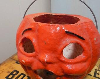 Paper Mache Jack O Lantern...Rare Vintage...Halloween Pumpkin