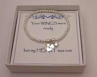 Keepsake Remembrance Sterling Silver Bead Heart & Angel Wing Bracelet: Your WINGS were ready but my HEART was not