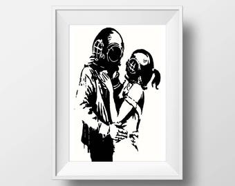 Banksy poster print, Urban Art, Graffiti wall decor