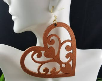 Bronzed Heart- Handmade Wooden Earrings