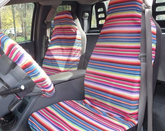 A Set of Fiesta Strips Blue Print, Seat Covers and Steering Wheel Cover Custom Made.