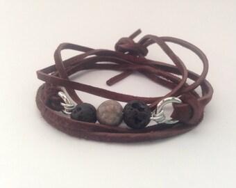 Brown Essential Oil Diffuser Bracelet