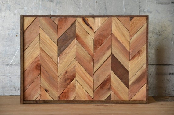 Reclaimed Wood Chevron Art Lath Art Wood Art Wall Art Wood