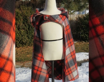 Red-Orange/Black Plaid Cloak with Metal Buttons, sz 6-7 Large - *short