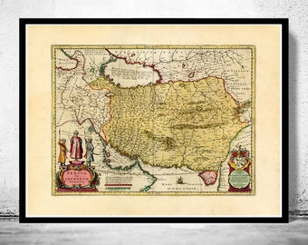 Old Map of Persia Iran 1665