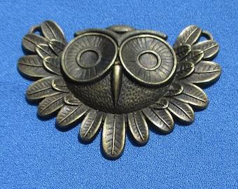 Vintage Owl Face Metal Pendant