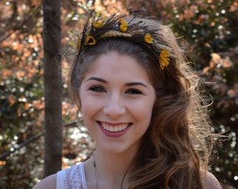 Sunflower Flower Crown Dried Wheat Hair Wreath Floral Headbad Woodland Wedding Boho Music Festival Photo shoot prop flower girl Bonnaroo