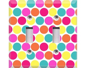 Pastel Polka-Dots Double Light Switch Cover