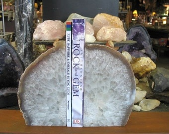 Large Brazilian Agate Bookends, Rock Bookends, Stone Bookends