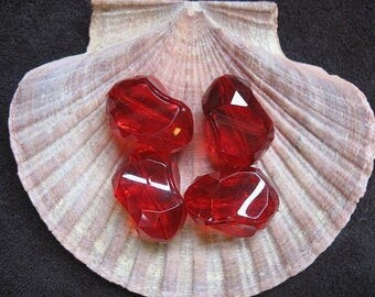Vintage Lucite Beads  Cherry Red Twisted Asymmetrical Pattern 21mm x 16mm - Four pieces