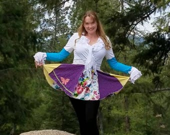 Upcycled T-Shirt Patchwork Katwise Inspired Recycled Teen Pixie Coat Festival Jacket Fairy Medium Cotton Hippie
