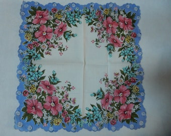 Pink and Blue Floral Handkerchief