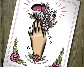"""My Kind of Bouquet Traditional Tattoo Flash Print 11""""x14"""" (A4 and A5 sizes available too)"""