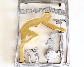 Ultra Craft Brooch, Swimmer, Under Water, Vintage Brooch, Figural Pin, Large Brooch