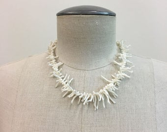 Vintage WHITE long Branch CORAL Necklace