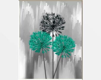 Turquoise Gray Flowers Decor, Modern Floral Bathroom Bedroom Wall Art Matted Picture