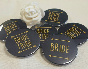 Heart Hen Do / Wedding / Team Bride / Bride Tribe Badge - black & Gold or custom colour (A Set)