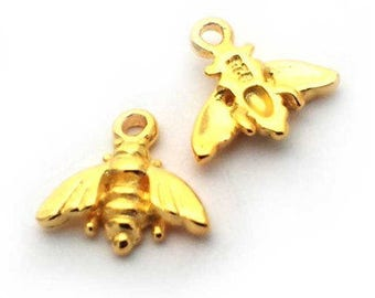 baby bee charm gold on st. silver, golden tiny bee charm , gold plated sterling silver bee charm , gold insect charm