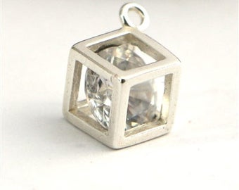 sterling silver cube charm with zircon crystal ,