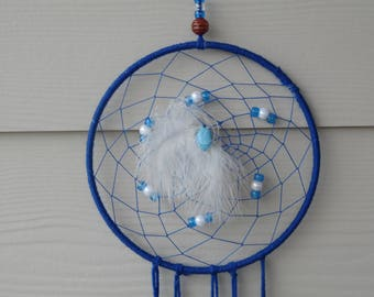 "8"" Dream catcher, bojo dream catcher, wedding dream catcher, nursery mobile, blue and white - - wall art"
